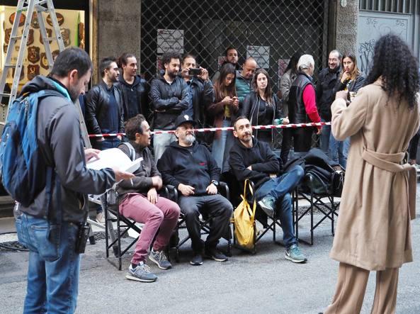 Diabolik sul set con Luca Marinelli